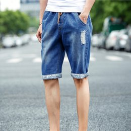 Wholesale Jean Shorts Men Skinny - Wholesale-Men Jeans 2016 Summer Casual Men Jeans Shorts Hole High Quality Fashion Knee Length Ripped Jean For Men Brand Pants Shorts