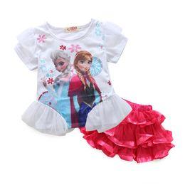 Wholesale T Shirt Layered Skirts - Frozen kids suits 2017 girls clothing set summer cartoon short T-shirt,gauze Layered tutu skirt girls clothing sets