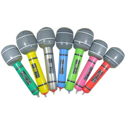 Wholesale Blow Up Christmas - Wholesale-New Hot Inflatable Microphone Blow Up Singing Party Time Star Disco Toy Children Gift Party Supplies