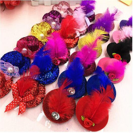 Wholesale Mini Felt Hat - 5cm Feather Hat Clip Solid Felt Mini Top Hat Hair Decoration Fascinator Base Women Girl Millinery Party Hats DIY Accessories Mix Color