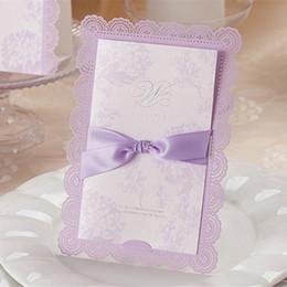 Wholesale Sample Wedding Envelope - Wholesale-1pcs Sample Purple Laser Cut Hollow Wedding Invitation Card With Customized Printing & Ribbon Envelopes & Seals Party Supplies