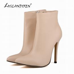 Wholesale Work Boots 11 - Wholesale-LOSLANDIFEN Fashion Women Pointed Toe Matte PU Leather High Heels Ladies Work Autumn Winter Ankle Boots Shoes Size 4-11 769-4MA