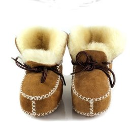 Wholesale Wholesale Lace Booties - Wholesale- winter baby shoes boots infants warm shoes fur wool girls baby booties Sheepskin Genuine Leather boy baby boots fur newborns