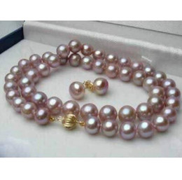 "Wholesale Natural Pearl Silver Plated - 8-9mm Natural Lavender Akoya Cultured Pearl Earrings Necklace Set 18"" b28"