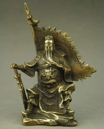 Wholesale Chinese Figurines Statues - Chinese Myth Pure Brass Dragon Warrior Guan Gong Guan Yu God Statue Figurine
