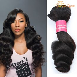 Wholesale Double Weft Brazilian Loose Wave - Gagaqueen Hair Extensions 8A Brazilian Hair Weaves Peruvian Malaysian Indian Virgin Hair loose Wave 3Bundles Dyeable Double Weft Black Color