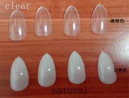 Wholesale Clear Fake Nails Full Cover - Wholesale- newest 120Pcs se Nail Art Clear Natural Full Cover Oval sharp end stiletto False Fake Nails Tips Manicure Artificial Nails Salon