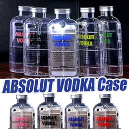 Wholesale Iphone Case 3d Crystals - 3D ABSOLUT VODKA Case Wine Beer Bottle Design TPU Transparent Clear Crystal Silicone Shockproof Back Cover For iPhone 6 6S plus 5 5s