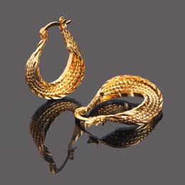 Wholesale Dangling Earrings 24k - Sky talent bao Top Quality 24K Yellow Gold GF Cradle Ear Earrings Jewelry Women Ladies Promotion Wholesale