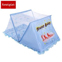 Wholesale Cotton Mosquito Nets - Wholesale- 1 Set Baby Bed Nets Folding Mosquito Nets Baby Bedding Mattress Pillow Cotton Mattress TRQ1289