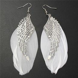 Wholesale Luxury Feather Earrings - Fashion Jewelry Long Feather Earrings For Women Luxury Statement Bohemian Dangle Earrings For Wedding Valentine's day 6IDW