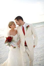 Wholesale Men Beach Wedding Suit - Wholesale- 2016 Summer Linen Tuxedos For Beach Wedding Morning Men Suits Groom Wear Best Man Suit 2 Pieces Custom Made Jacket+Pants+Tie