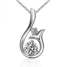 Wholesale Little Mermaid Top - Top Grade Diamond Pendant Necklace Cubic Zircon 30% 925 sterling silver Little Mermaid Pendant necklace For Wedding Party Women Jewelry