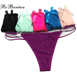 Wholesale Low Rise Cotton Thong - Rebantwa Lady Thongs Women Lingerie Cotton Sexy Panties Cute Bow Underwear Women Intimates Briefs Thongs G-String Sexy V-String Wholesale