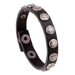 Wholesale Cheap Gold Chains For Men - Wholesale- Export trade jewelry new leather bracelet personalized for men and women punk bracelet personality star cheap promotion colors