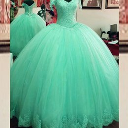 Wholesale Prom Dresses Mint Color - Charming Mint Green Ball Gown Prom Dresses Puffy Tulle Quinceanera Dress Sweet 16 Dresses Lace Appliques Lace-up Back Formal Gowns