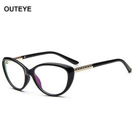 Wholesale w2 wholesale - Wholesale- OUTEYE Vintage Cat Eye Glasses Frame Men Women Eyeglasses Optical Frame Goggles Plain Clear Lens oculos feminino de grau W2