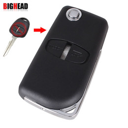 Wholesale Mitsubishi Car Remote Covers - BIGHEAD Modified Remote Key Shell Case 2 Buttons For Mitsubishi Outlander Grandis Pajero Lancer Car Cover Right groove With Logo