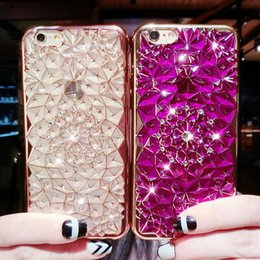 Wholesale Iphone 4s Cover 3d Crystal - 3D Luxury Bling Crystal Fashion Designed Diamond Rhinestones Case Back Cover For iphone 4S 5S 6 6s 7 plus 3D Electroplating Soft TPU