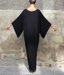 Wholesale Elegant Dress Vintage Casual Evening - 2017 Solid Casual Vintage Maxi Dress Batwing Sleeve Plus Size Loose Sexy Women Dress Elegant Evening Party Dress