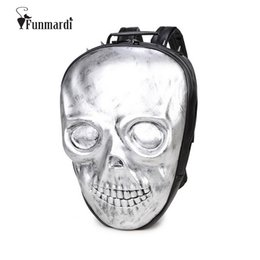 Wholesale Skull Computer Bag - Wholesale- New arrival cool 3D Skull design backpacks vintage good quality PU leather bags Rivet computer bags Rock Travel Bags WLHB1455