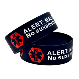 Wholesale Emergency Band - 1PC Alert Malignant Hyperthermia Silicone Wristband 1'' Wide Band, A Great Message to Carry In Case Emergency