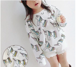 Wholesale Cute Wholesale Tops Toddler - Cute style New fashion Baby children Lovely kids Girl boy Cotton Tops Christmas Sweater Solid color white Long sleeve Toddler t shirts Unico