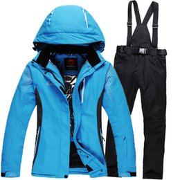 Wholesale Snowboard Jackets Pants - New 2016 winter Ski suits waterproof windproof Male and female couples ski suit snowboard jacket and pants Ski set