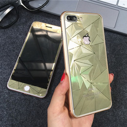Wholesale Iphone Back Glass Diamond - Luxury 3D Diamond Color Plating Full Body Tempered glass Mirror front and back screen protector Film for iPhone 7 6s 6 6plus 5S with box