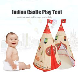 Wholesale Teepee Tents - Wholesale- Natural Indian Pattern Children Toy Tent Teepees Safety tipi Portable Indoor Game Tents Outdoor Tente Enfant Playhouse for Kids