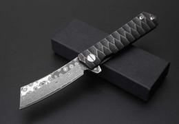 Wholesale Option Pockets - Free shipping 2017 New high quality Razor knives 2 options folding knife Damascus steel sword blade   Titanium handle gift pocket knives
