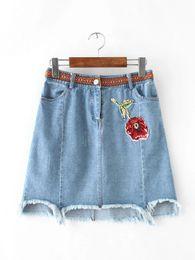 Wholesale High Rise Shorts Denim - Embroidery basic high waist blue denim skirt Summer vintage rose printed short skirt Casual streetwear women skirt
