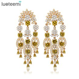 Wholesale Yellow Statement Earrings - LUOTEEMI New Europe Style Statement Clear and Yellow CZ Crystal Big Long Tassel Drop Earrings for Women Jewelry Accessories