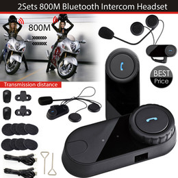 Auricular para intercomunicador online-2 set / lote el más nuevo casco de Bluetooth Intercoms Radio FM casco de la motocicleta Bluetooth Intercom Auriculares Auriculares BT TOM-VB