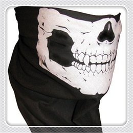 Wholesale novelty bicycles - Outdoor Cycling Masks Multi Function Headwear Skull Bandana Motorcycle Helmet Neck Half Face Masks Motorcycle Bike Bicycle Black Tube Mask