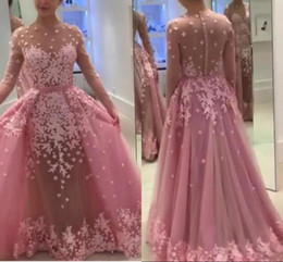 Wholesale Sheath Column Square Chiffon Lace - 2018 Pink Long Sleeves Dresses Evening Wear With Detachable Train Sheer Sexy Prom Dress Long Sheath Appliques Tulle Celebrity Party Gowns
