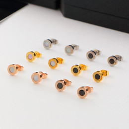 Wholesale Small Earring Black - Top Brand Black  White Shell Small Titanium Stainless Steel Stud Earrings,Yellow Gold Rose gold Silver Metal Colors Women Men Jewelry
