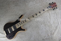Wholesale China Custom Bass - Wholesale- China guitar factory custom W New Arrival 2017 6 Strings Bass Thru neck Brown natural Electric Bass Active Pickups 1221