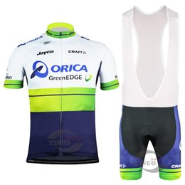 Wholesale Orica Green - 2015 ORICA PRO TEAM GREEN BLUE O068 Short Sleeve Cycling Jersey Bike Bicycle Wear + BIB Shorts Size XS-4XL