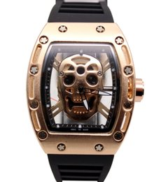 Wholesale Pirate Luxury - Fotina 2017 New Pirate Skull Watches Men Richard Style Quartz Military Rubber Wrist Watch Men Sports Rose Gold Relogio Masculino