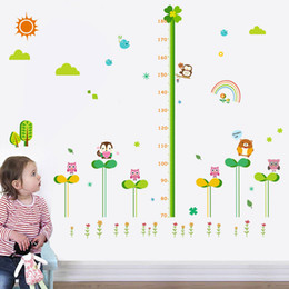 Wholesale Vinyl Ruler - Cartoon height wall sticker chart Owl height ruler wall decal for kids room removable growth charts vinyl home decor