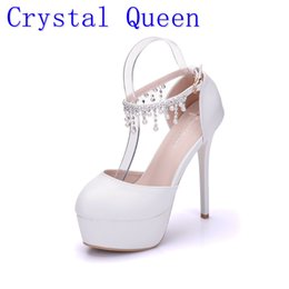 Wholesale White Prom Shoes Beading - Crystal Queen Woman White Wedding Shoes High Heel Round Toe Platform Ankle Pumps Bridal Shoes Prom Dress Shoes Pearls rhinestone