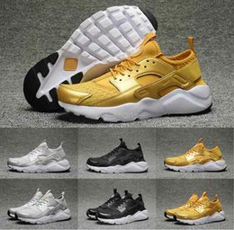Wholesale Woven Shoes For Men - 2017 New Air Huarache 4 IV Running Shoes For Men & Women,Gold Black Weave huraches Sneakers Huaraches Trainers Mens Sport Shoes 36-45