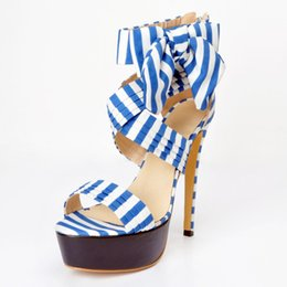 Wholesale Stripes Stilettos High Heels - 2017 new summer elegant bow sandals stripes fight color waterproof high-heeled shoes
