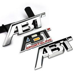 Wholesale Vw Front Emblem - Metal ABT refit Aluminum car badge auto front grille emblem 3D ABT logo stickers car sticker decal for VW CC Polo passat b5
