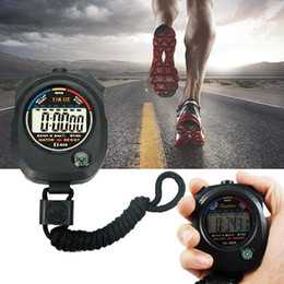 Wholesale Stop Digital - Wholesale- 1Pcs Digital Handheld Sports Stopwatch Seconds Precision Stop Running Watch Time Alarm Step Counter Timer Pedometer