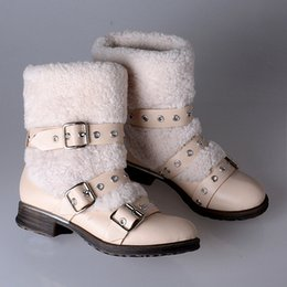 Wholesale Favorite Boots - Lovely Girl Favorite Fleeces Snow Boots Fur Keep Warm Flange Sole Rivets Buckle Decoration Slip-On Ankle Boots 35-41
