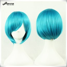 Wholesale Synthetic Wigs For Men - Hot Sale Harajuku Short Blue Wig for Men Straight Hair Wig with Side Bangs Anime Cosplay Party Wig Synthetic Bob Free Shipping Cosplay women