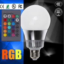 Wholesale Led Bulb Rgb Disco - GU10 RGB 6W 15W E27 E14 B22 RGB Q6 LED Bulb AC 85-265V LED Spotlight IR Remote Controller For Disco DJ Party Holiday Dance lamp