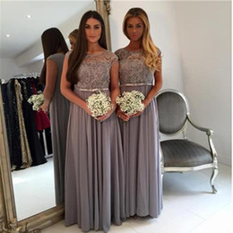 Wholesale Sparkly White Chiffon Wedding Dresses - Top Sale Grey Sash Bridesmaid Dress Cap Sleeve Sheer 2017 Crystal Beadings Sparkly Wedding Prom Party Gowns Fashion A Line Scoop Custom Made